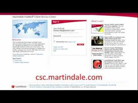 How To Login : LexisNexis | Martindale Hubbell Client Service Center