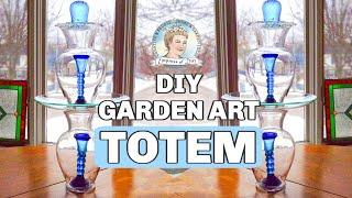 How To Make A Glass Garden Art Totem And Bird Bath 1/2