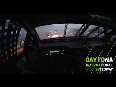 Ride along in wreck with Daniel Suarez's visor cam