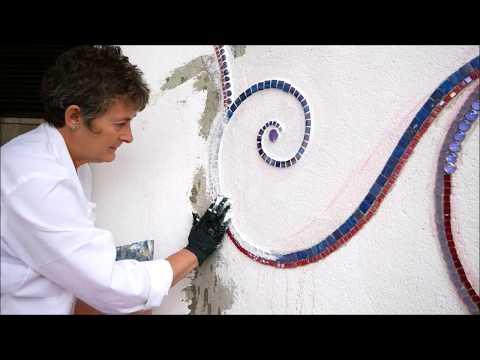 Alice-ART Mosaik auf einer Außenwand selber machen, Mosaic on an outside wall (selfmade)