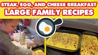 Steak, Egg, And Cheese Breakfast Casserole | Large Family Recipes 🍳
