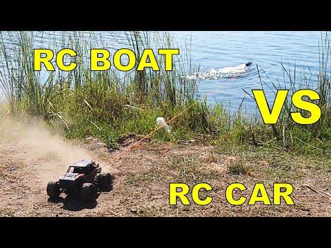 HS 18311 RC Monster Truck VS JJRC S3 Latitude RC Boat - TUG of WAR