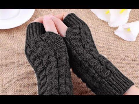 Модные трикотажные зимние вязаные перчатки без пальцев