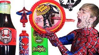 Do NOT Eat VENOM Hubba Bubba 😫 DIY Superhero Food & Drinks Spiderman, Hulk, Antman - Giant Food