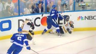 Ryan McDonagh hit on Brad Marchand - Boston Bruins at Tampa Bay Lightning Game 2