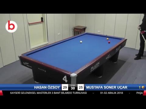 HASAN ÖZSOY & MUSTAFA SONER UÇAR Bilardo Maçı - KAYSERİ MASTERLAR  3 BANT TURNUVASI-2.TUR