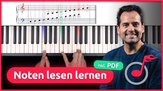 Noten lesen lernen am Klavier! (für Anfänger + PDF)