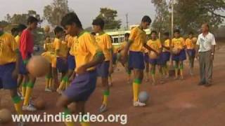 Football practice at Jawahar Stadium, Kannur