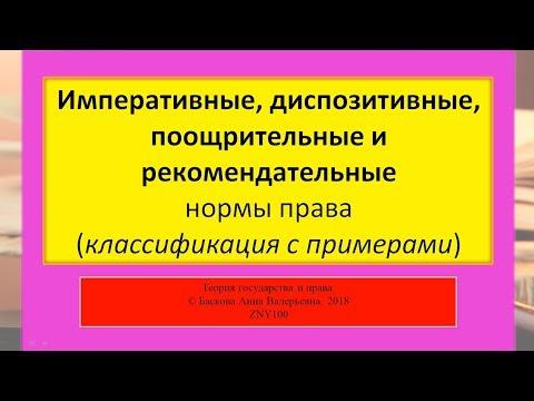 Императивные, диспозитивные, поощрительные и рекомендательные нормы права. ТГП - ZNY100
