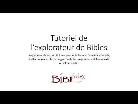 Tutoriel vidéo de l'explorateur de Bibles