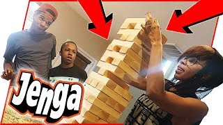 JUMBO JENGA WAGER! LOSER HAS TO DO A PUNISHMENT!