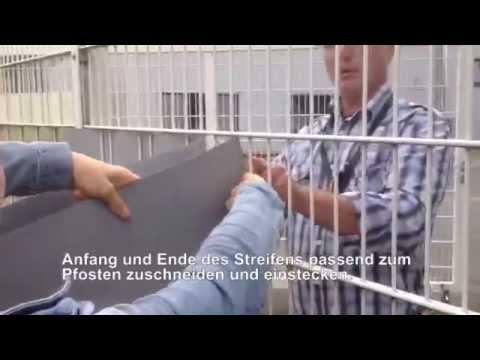 Neu! Kurzvideo Hart-PVC Sichtschutzstreifen / Zaunstreifen einflechten