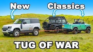 Tesla vs Diesel power: Land Rover TUG OF WAR