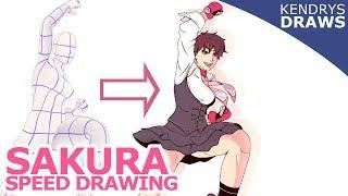 Sakura speed drawing street fighter 5  -Clip studio paint