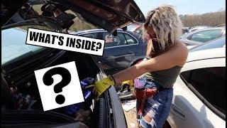 LOOK WHAT WE FOUND?!?! - Treasure Hunting Car Trunks At Junkyard!