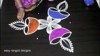 How to draw Diwali festival diya rangoli kolam designs || deepavali muggulu