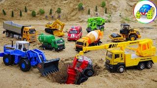 Landslide Has Occurred! Cars Buried In The Sand, Excavators, Crane Trucks, Tractors, Road Rollers