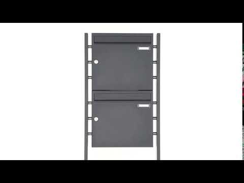 2er Briefkastenanlage freistehend RAL 7016 anthrazitgrau BASIC PLAIN 384-P