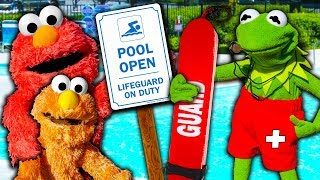 Kermit the Frog Gives Elmo LIFEGUARD Training for our Swimming Pool!