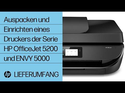 Auspacken und Einrichten eines Druckers der Serie HP OfficeJet 5200 und ENVY 5000