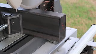 EVOLUTION S380CPS: Real Time Cuts on 4 x 2 Steel 11 gauge .120, etc. Cold Cut Chop Saw