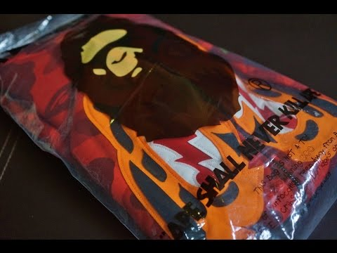 Unboxing Bathing Ape (BAPE) Red Color Camo Tiger Hoodie & Review!