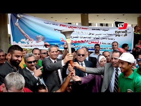 محافظ الدقهلية يتسلم شعلة «شباب الجامعات»