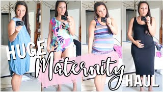 HUGE MATERNITY TRY ON HAUL .. DRESSES, SWIMSUITS, SHORTS, & MORE!