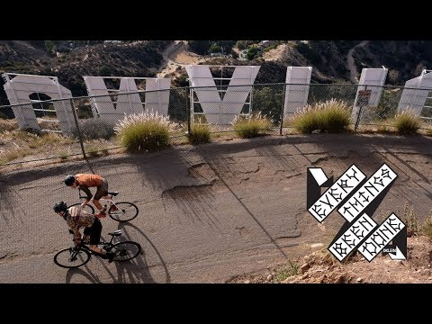 A track bike, a fat-tire road bike & the HOLLYWOOD hills.