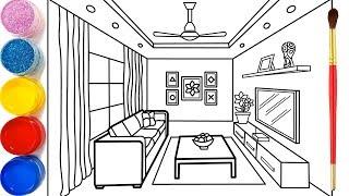 Phòng khách cho bé vẽ và tô màu   Dạy bé vẽ  Dạy bé tô màu  Glitter Living Room Drawing and Coloring