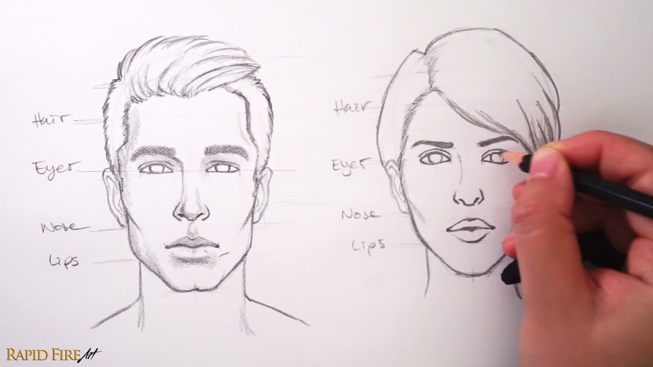 drawing how to draw faces by rapid fire art