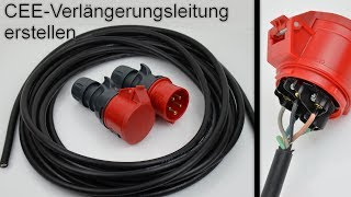 400V CEE Verlängerungsleitung erstellen / Verlängerungskabel herstellen / anschließen