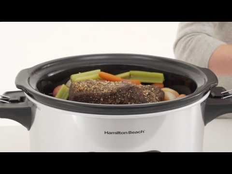 , Hamilton Beach 33861 Programmable Slow Cooker, 6 Quart, Dual Digital Timer, Stainless Steel