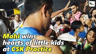 Watch: MS Dhoni wins hearts of the kids during CSK training | IPL 2019
