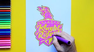 How to draw the Kolkata Knight Riders Logo (IPL Team)