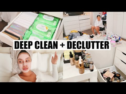 CLEAN WITH ME: Decluttering My Closet + Makeup | Marie Jay
