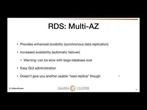 Running Galera Cluster on Amazon EC2 and comparing it to RDS and Aurora