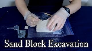 [ASMR] Scraping At A Gem Filled Sand Block For Relaxation