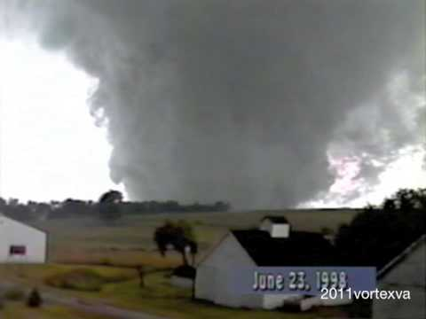 Tornado in Nebraska, 1998. Some of the most intense footage I have ever seen.
