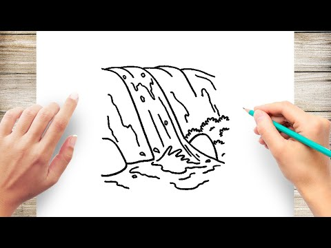 How To Draw Waterfall Step by Step