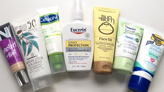 I TESTED OUT 8 DRUGSTORE SUNSCREENS| Sensitive, Acne Prone Skin!