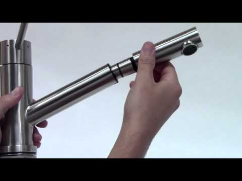 Video for Solid Stainless Steel Pull Out Single Hole Kitchen Faucet