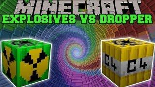 MORE EXPLOSIVES MOD VS THE DROPPER - Minecraft Mods Vs Maps (Nukes, Bombs, C4)