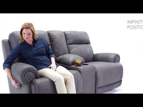 Gray Austere Reclining Loveseat with Console View 4 video