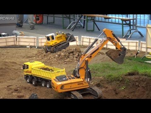 RC Trucks Construction Site 1/3 Excavator Baustelle Bagger LKW ♦ Modellbaumesse Wels 2016
