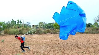 Hello guys, is video me humne ek parachute banakar testing kiya hai...Plz never repeat this experiment because it is dangerous. This parachute is not designed to land from a high point safely. This demo just shows how a parachute creates drag to slow the speed of a diver or a vehicle.