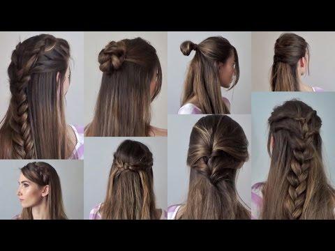 8 простых причесок на каждый день за 2-5 минут | с распущенными волосами