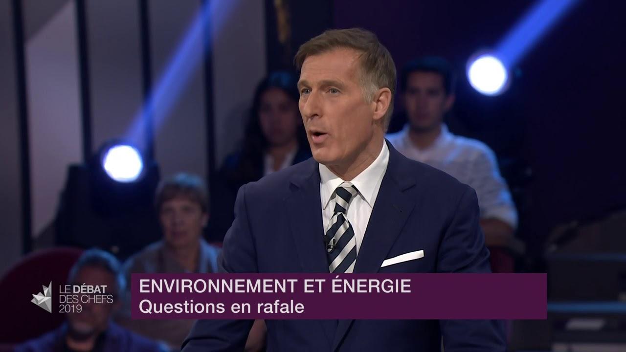 Maxime Bernier répond à la question du modérateur sur l'urgence climatique