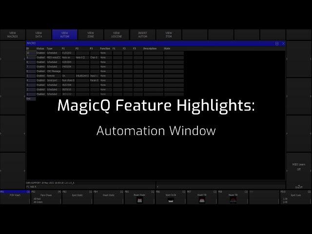 MagicQ Automation Window