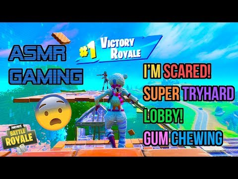 ASMR Gaming 😨 Fortnite Super Scary Tryhard Lobby! Gum Chewing 🎮🎧Controller Sounds + Whispering😴💤